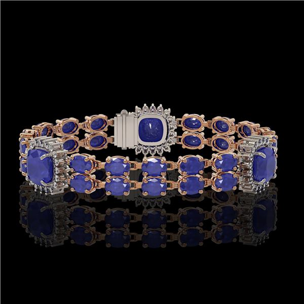 21.83 ctw Sapphire & Diamond Bracelet 14K Rose Gold - REF-270F2M