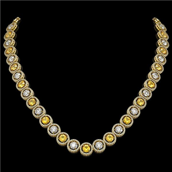 31.64 ctw Canary & Diamond Micro Pave Necklace 18K Yellow Gold - REF-3354N5F