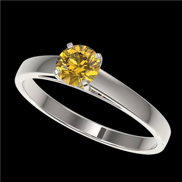 0.54 ctw Certified Intense Yellow Diamond Engagment Ring 10k White Gold - REF-60K3Y