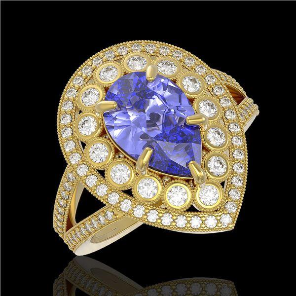 4.52 ctw Certified Tanzanite & Diamond Victorian Ring 14K Yellow Gold - REF-245M5G
