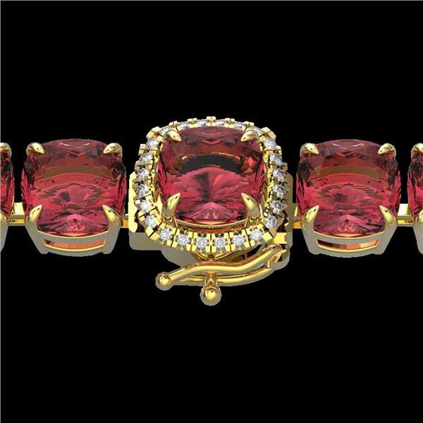 40 ctw Pink Tourmaline & Micro VS/SI Diamond Bracelet 14k Yellow Gold - REF-476A5N