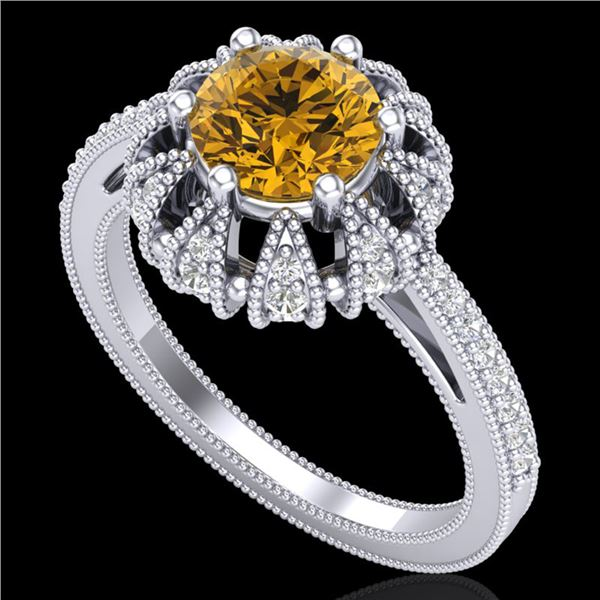 1.65 ctw Intense Fancy Yellow Diamond Art Deco Ring 18k White Gold - REF-230F9M