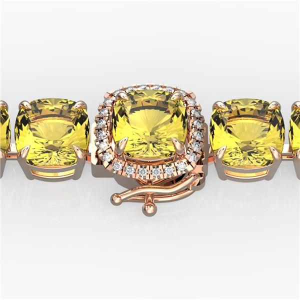 35 ctw Citrine & Micro VS/SI Diamond Bracelet 14k Rose Gold - REF-134A2N
