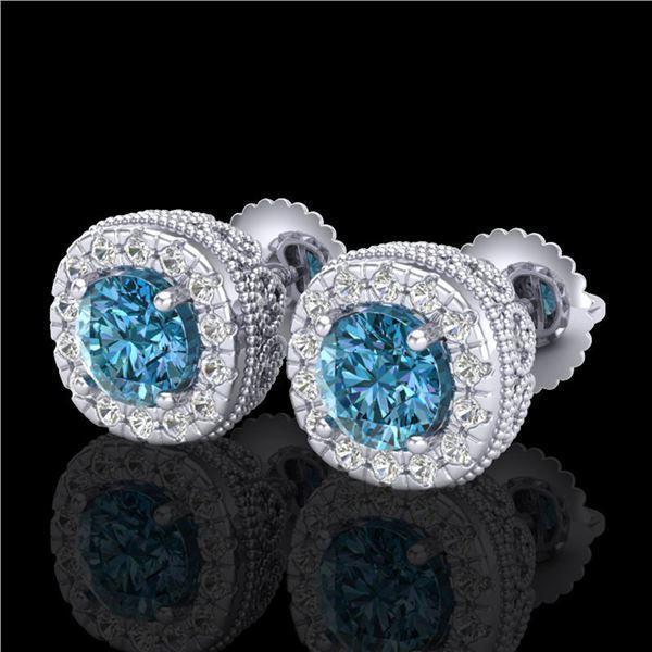 1.69 ctw Fancy Intense Blue Diamond Art Deco Earrings 18k White Gold - REF-176K4Y