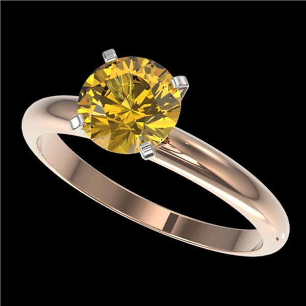 1.50 ctw Certified Intense Yellow Diamond Solitaire Ring 10k Rose Gold - REF-233N2F