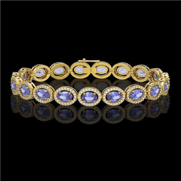 14.25 ctw Tanzanite & Diamond Micro Pave Halo Bracelet 10k Yellow Gold - REF-309M3G