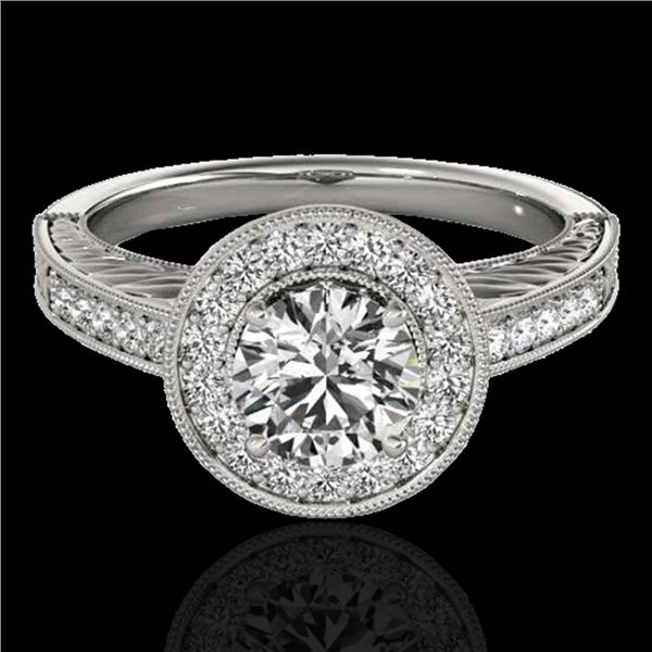 1.5 ctw Certified Diamond Solitaire Halo Ring 10k White Gold - REF-231K8Y