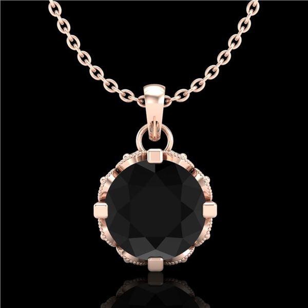 1.14 ctw Fancy Black Diamond Art Deco Stud Necklace 18k Rose Gold - REF-81X8A