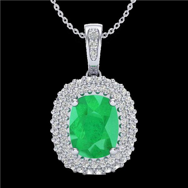 3.15 ctw Emerald & Micro Pave VS/SI Diamond Necklace 18k White Gold - REF-90M9G