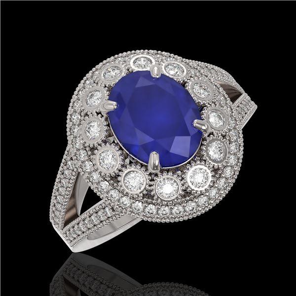 4.55 ctw Certified Sapphire & Diamond Victorian Ring 14K White Gold - REF-143G6W
