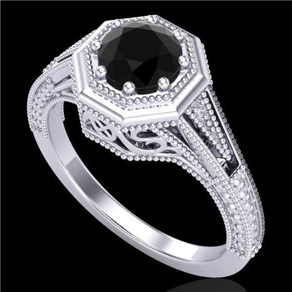 0.84 ctw Fancy Black Diamond Engagment Art Deco Ring 18k White Gold - REF-89H3R
