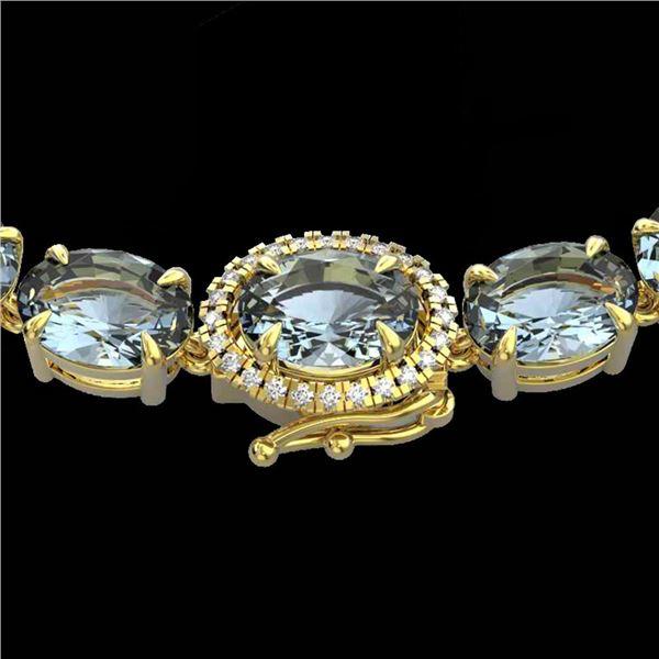 36.25 ctw Aquamarine & Diamond Eternity Micro Necklace 14k Yellow Gold - REF-345F5M
