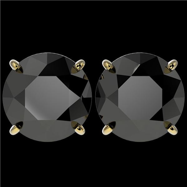 5.15 ctw Fancy Black Diamond Solitaire Stud Earrings 10k Yellow Gold - REF-82R2K