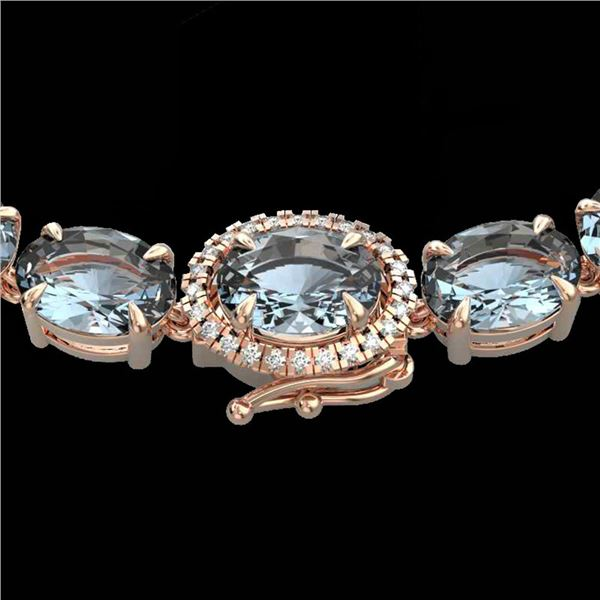 36.25 ctw Aquamarine & Diamond Eternity Micro Necklace 14k Rose Gold - REF-345A5N