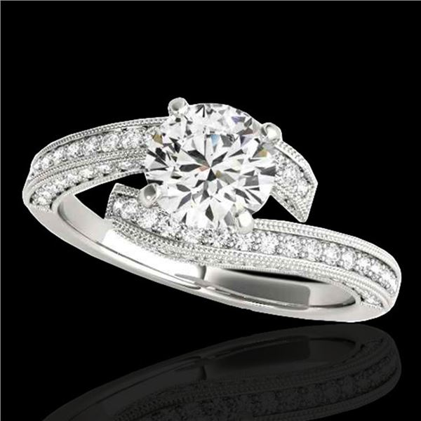 1.75 ctw Certified Diamond Bypass Solitaire Ring 10k White Gold - REF-211W4H