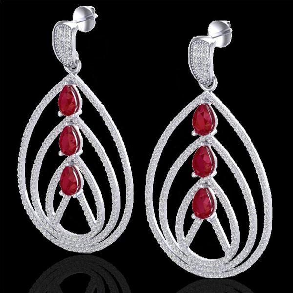 4 ctw Ruby & Micro Pave VS/SI Diamond Designer Earrings 18k White Gold - REF-307M3G