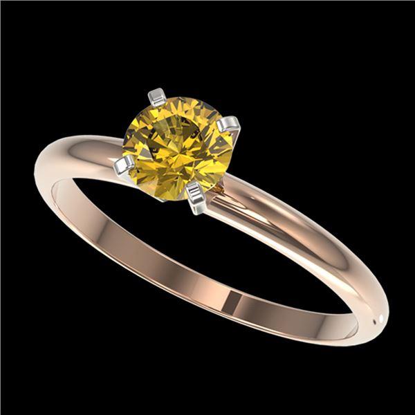 0.75 ctw Certified Intense Yellow Diamond Engagment Ring 10k Rose Gold - REF-67H5R