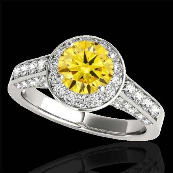 1.8 ctw Certified SI/I Fancy Intense Yellow Diamond Ring 10k White Gold - REF-218N2F