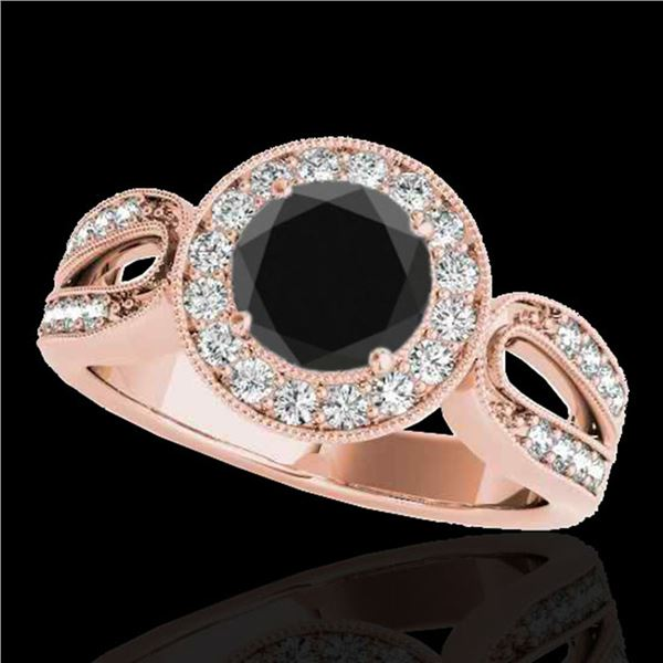 1.4 ctw Certified VS Black Diamond Solitaire Halo Ring 10k Rose Gold - REF-57Y8X