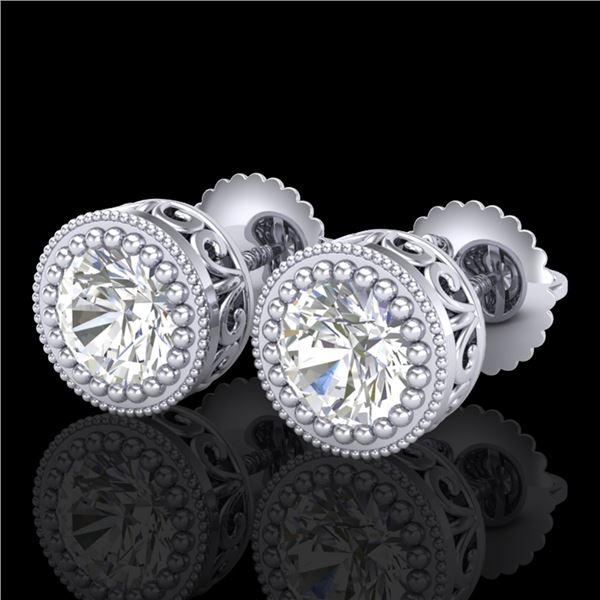 1.09 ctw VS/SI Diamond Solitaire Art Deco Stud Earrings 18k White Gold - REF-202X8A