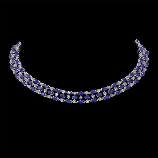 63.65 ctw Sapphire & Diamond Necklace 10K White Gold - REF-618W2H