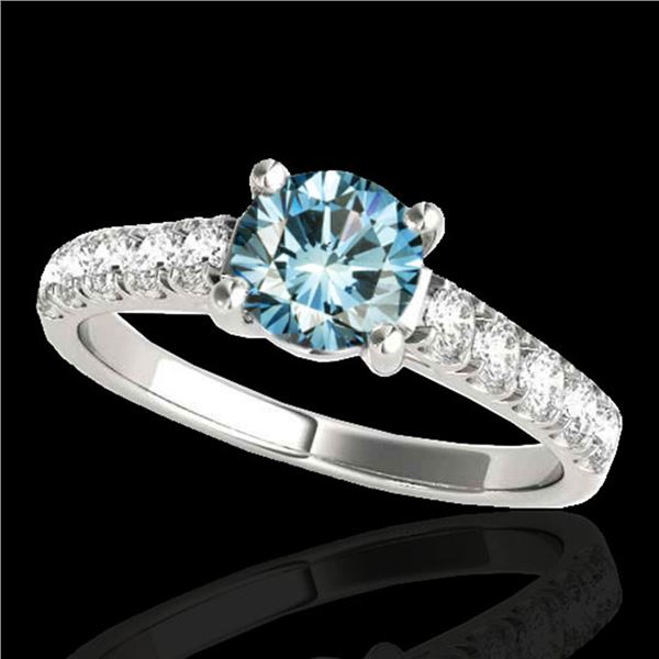 1.55 ctw SI Certified Fancy Blue Diamond Solitaire Ring 10k White Gold - REF-155K5Y