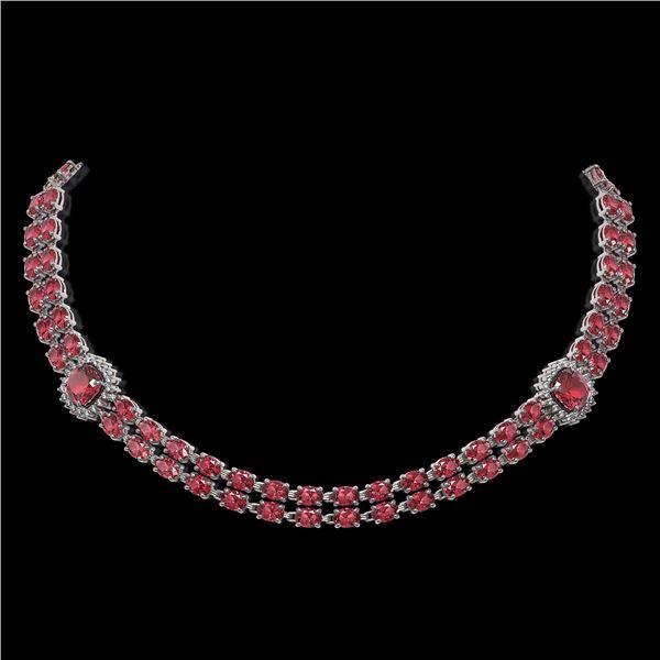 38.37 ctw Tourmaline & Diamond Necklace 14K White Gold - REF-527A3N