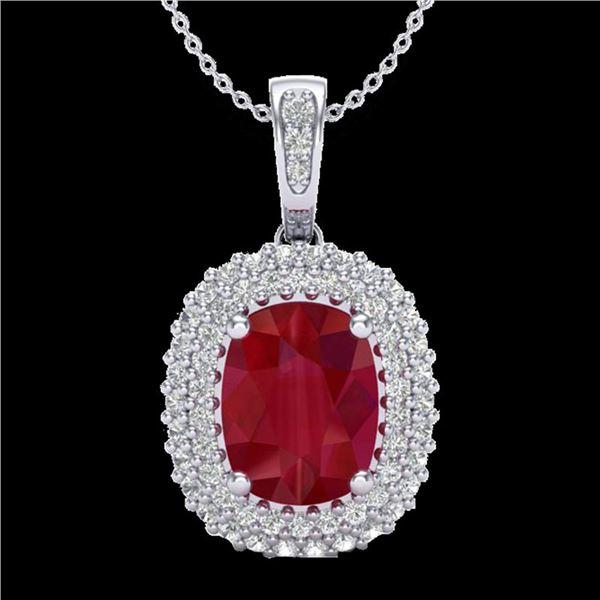 3.15 ctw Ruby & Micro Pave VS/SI Diamond Necklace 18k White Gold - REF-90H2R