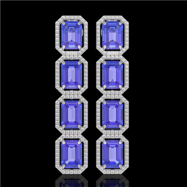 19.39 ctw Tanzanite & Diamond Micro Pave Halo Earrings 10k White Gold - REF-418A5N