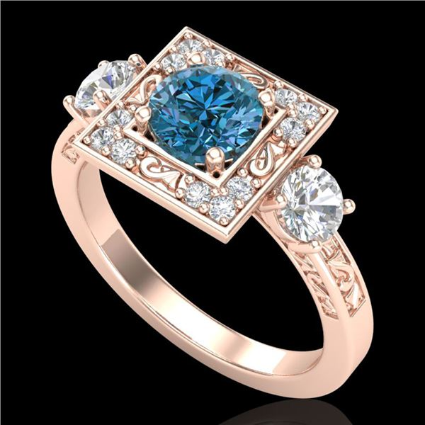 1.55 ctw Intense Blue Diamond Art Deco 3 Stone Ring 18k Rose Gold - REF-178Y2X