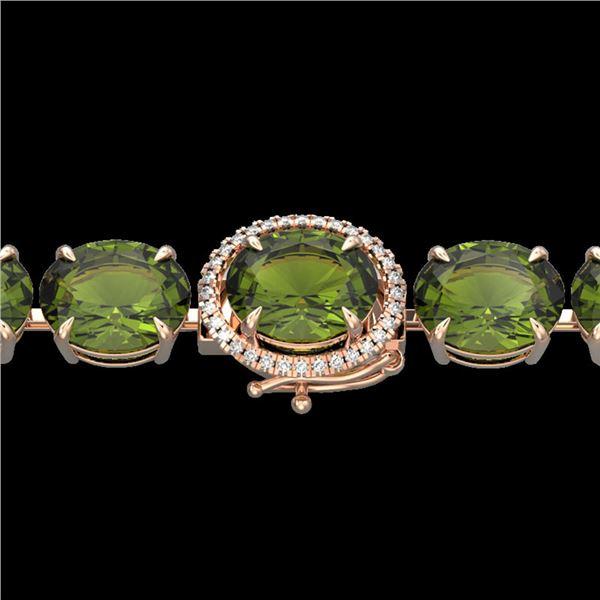 65 ctw Green Tourmaline & Micro Diamond Bracelet 14k Rose Gold - REF-890H9R