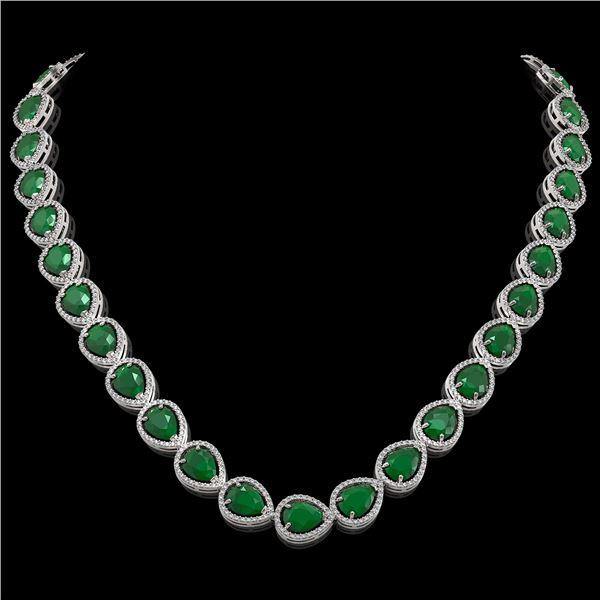 64.01 ctw Emerald & Diamond Micro Pave Halo Necklace 10k White Gold - REF-854X5A