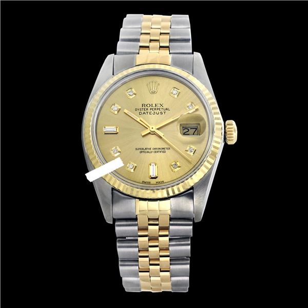 Rolex Men's Two Tone 14K Gold/SS, QuickSet, Diamond Dial with Fluted Bezel