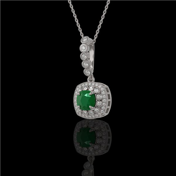 2.55 ctw Certified Emerald & Diamond Victorian Necklace 14K White Gold - REF-100N2F
