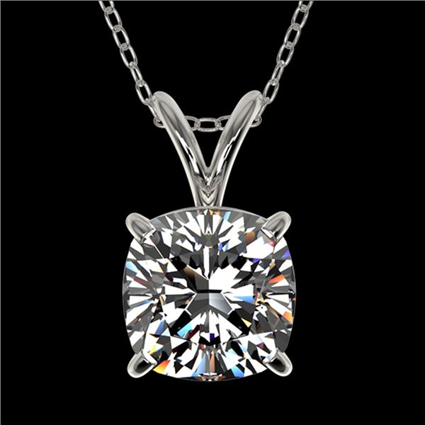 1.25 ctw Certified VS/SI Quality Cushion Diamond Necklace 10k White Gold - REF-325X2A