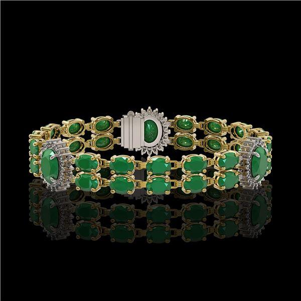 20.99 ctw Emerald & Diamond Bracelet 14K Yellow Gold - REF-263A6N