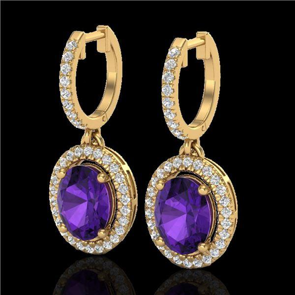 3.50 ctw Amethyst & Micro Pave VS/SI Diamond Earrings 18k Yellow Gold - REF-99R8K