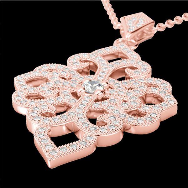 1.40 ctw Micro Pave VS/SI Diamond Designer Necklace 14k Rose Gold - REF-130F9M