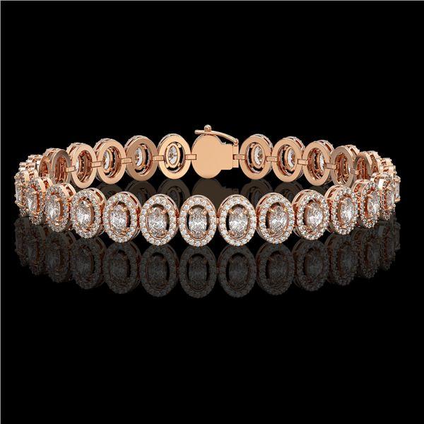 10.36 ctw Oval Cut Diamond Micro Pave Bracelet 18K Rose Gold - REF-898R6K