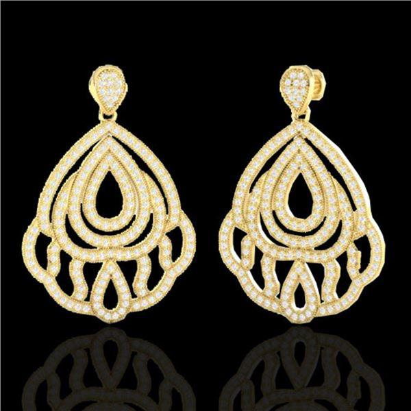 3 ctw Micro Pave VS/SI Diamond Earrings Designer 18k Yellow Gold - REF-280M2G
