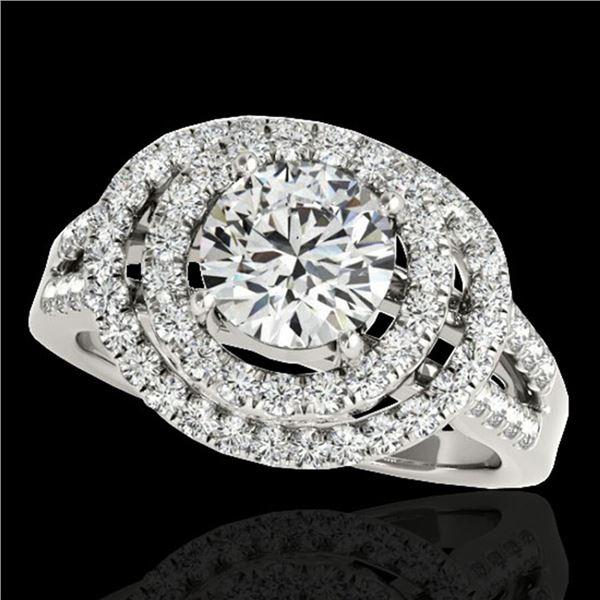 1.75 ctw Certified Diamond Solitaire Halo Ring 10k White Gold - REF-211F4M