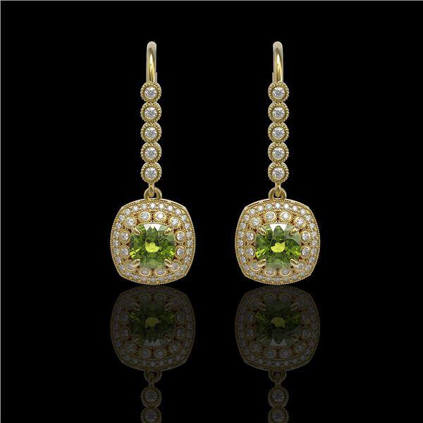 4.5 ctw Tourmaline & Diamond Victorian Earrings 14K Yellow Gold - REF-172K8Y
