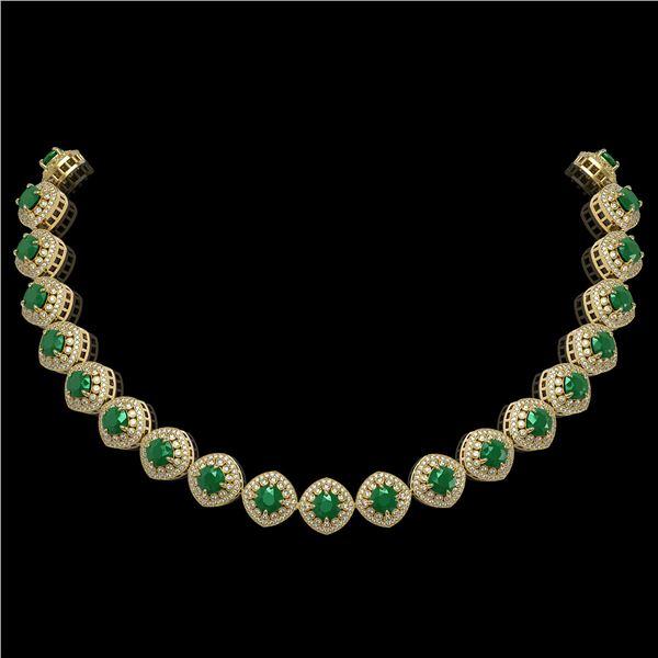 82.17 ctw Emerald & Diamond Victorian Necklace 14K Yellow Gold - REF-1800G2W