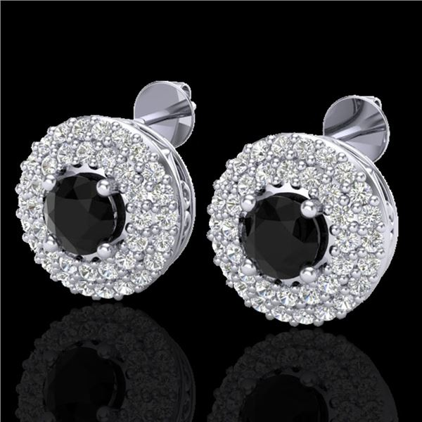 1.40 ctw Micro VS/SI Diamond Designer Earrings DOUBLE 18k White Gold - REF-84X9A