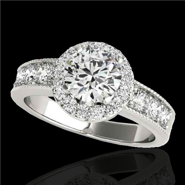 1.85 ctw Certified Diamond Solitaire Halo Ring 10k White Gold - REF-225N2F
