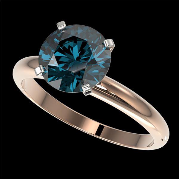2.50 ctw Certified Intense Blue Diamond Engagment Ring 10k Rose Gold - REF-472W5H