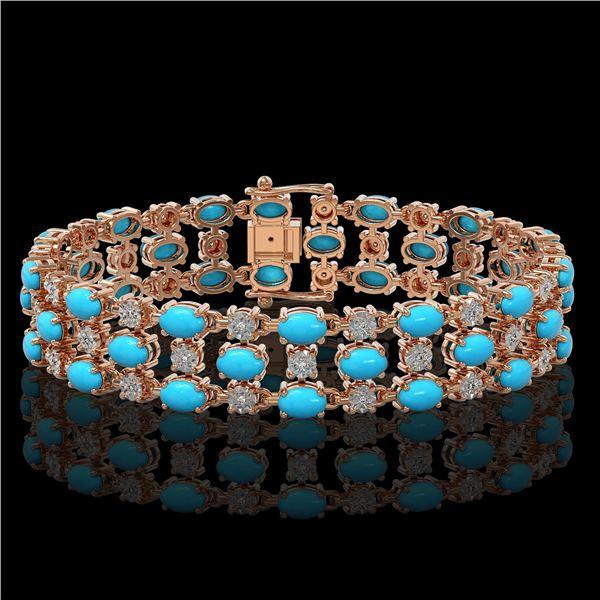 18.05 ctw Turquoise & Diamond Bracelet 10K Rose Gold - REF-227K3Y