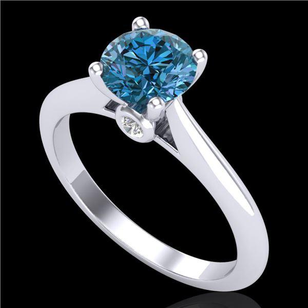 1.08 ctw Fancy Intense Blue Diamond Art Deco Ring 18k White Gold - REF-121W4H