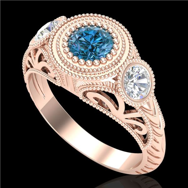1.06 ctw Fancy Intense Blue Diamond Art Deco Ring 18k Rose Gold - REF-154K5Y