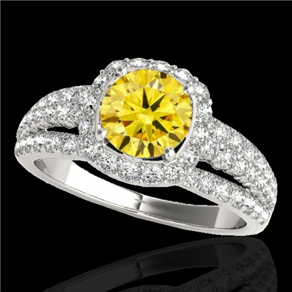 2 ctw Certified SI/I Fancy Intense Yellow Diamond Halo Ring 10k White Gold - REF-204A5N